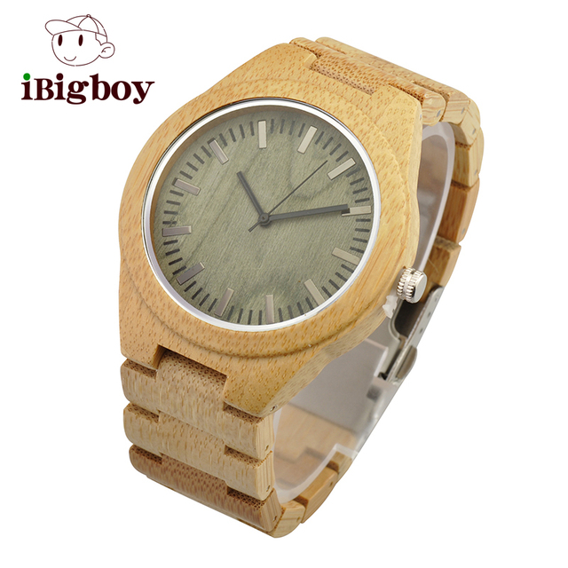 Ibigboy Fashion Lover's Wood Quartz Watch Genuine Leather Band New Arrival Handmade Strap Wristwatch for Men Women Creative Gift