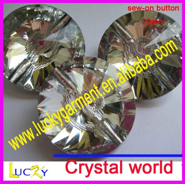 30mm crystal button,sew on button,sew on crystal shine as swaro button 3015