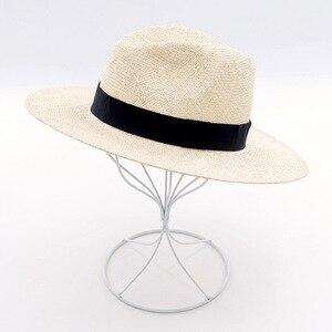 Image 5 - Unisex Handgemachte Natürliche Sisal Sommer Hut für Frauen Männer Breite Krempe Sonnenhut Hut Trilby Stroh Fedora Echtem Havanna Retro Strand jazz Kappe