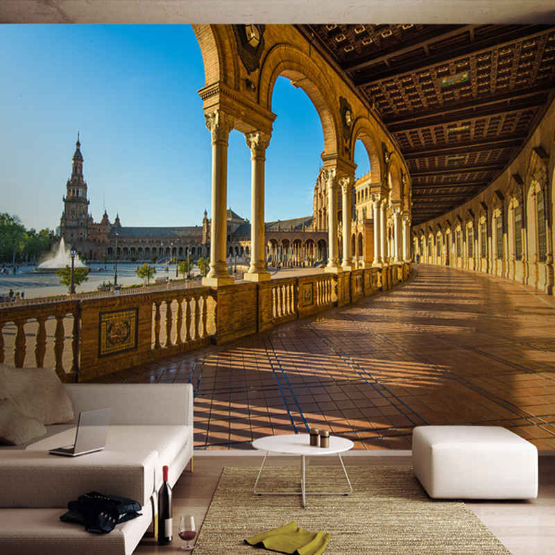 >Custom Wall Mural Non-woven Wallpaper European <font><b>Style</b></font> 3D Stereoscopic Space <font><b>Spanish</b></font> Landscape Photo Wall Paper Living Room Study