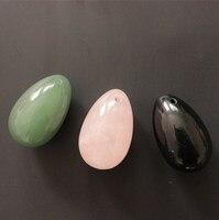3 Pcs 40 25mm Natural Obsidian Green Jade And Rose Quartz Drilled Yoni Egg