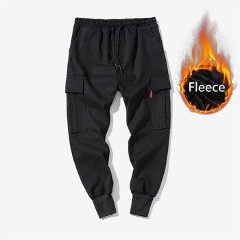 winter thick fleece hip hop sweatpants men streetwear Mult-pockets Japanese style loose harem pants mens casual trousers joggers