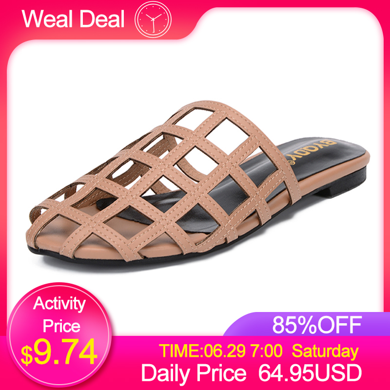 BYQDY Big Promotion Women Outside Slippers Slip On Beach Shoes Casual Slides Woman Flat Female Mules
