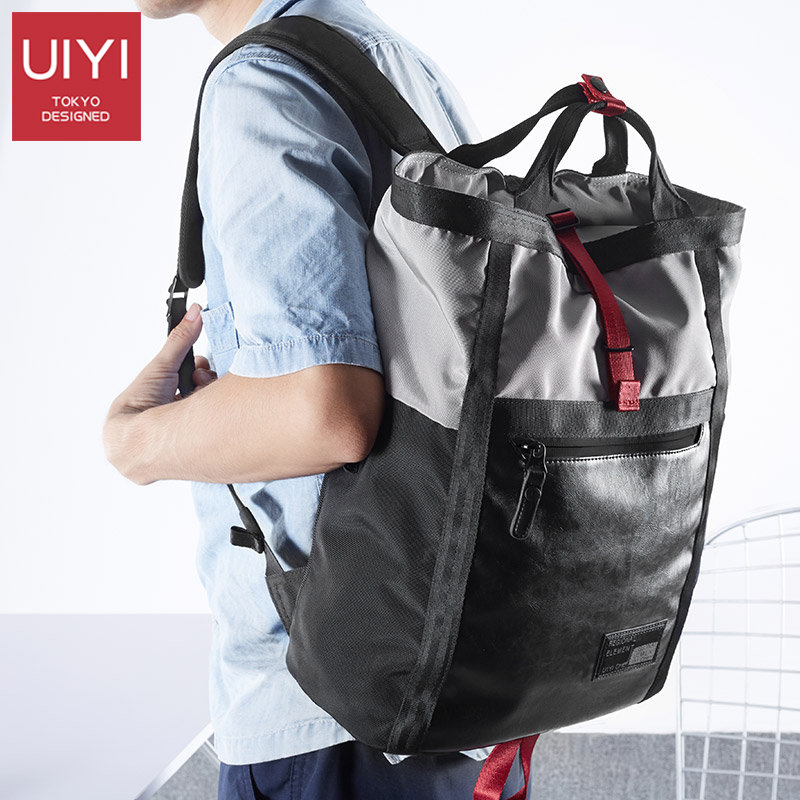UIYI Men's backpack autumn new gray polyester cloth bag man Black PVC casual large-capacity travel men's shoulder Back bag large capacity casual man backpack