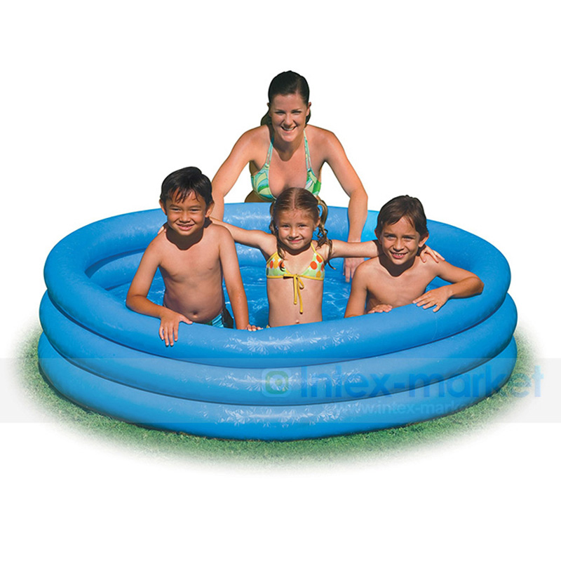 US $31.12 17% OFF|INTEX 58426 big size 3 ring 147x33cm blue pvc inflatable  above ground pool family kid child swimming water play pool B31009-in Pool  ...