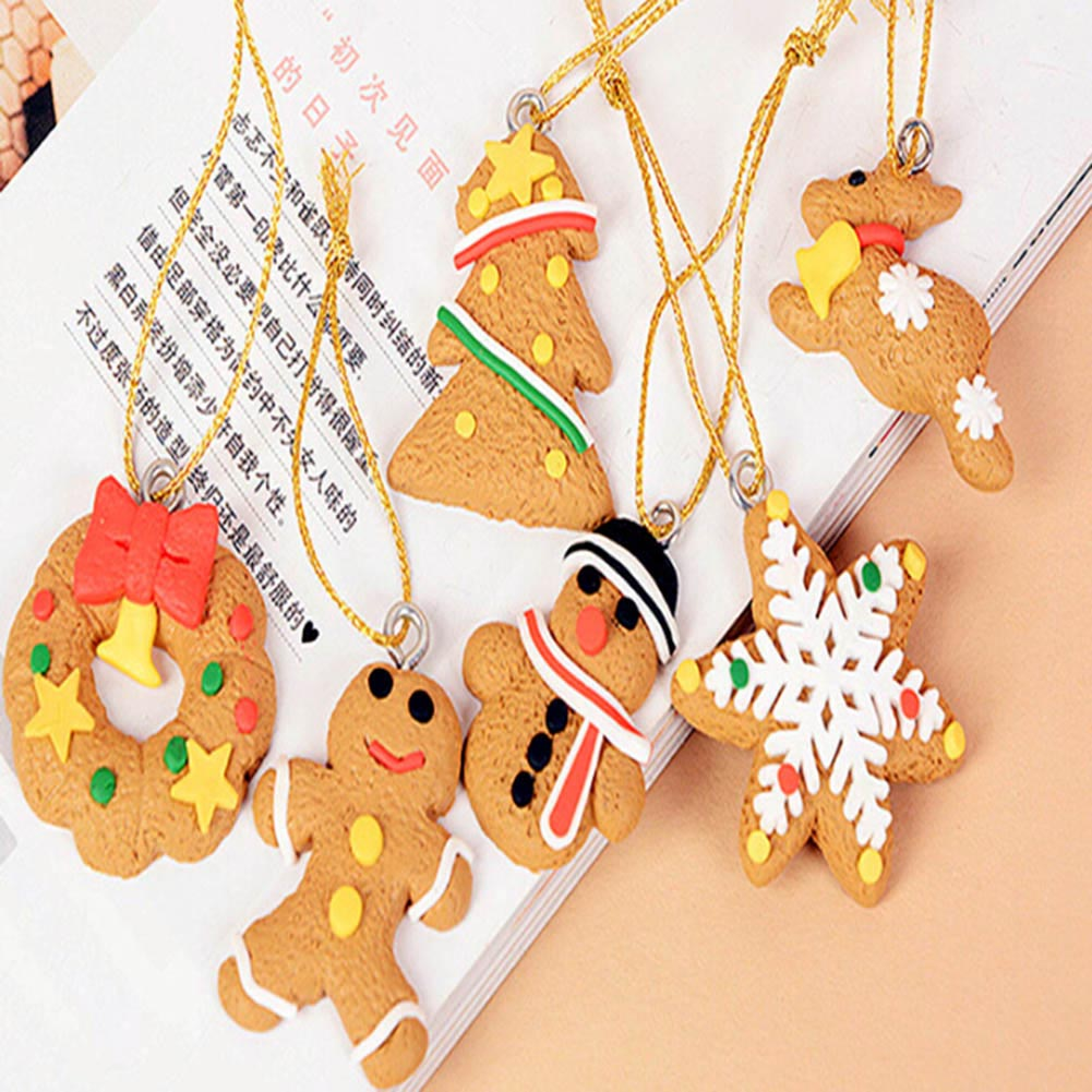 6 PCS Chrismas Tree Decorations Soft pottery Santa Claus Pendant Christmas Ornaments Xmas Gifts Tree Hanging Decoration