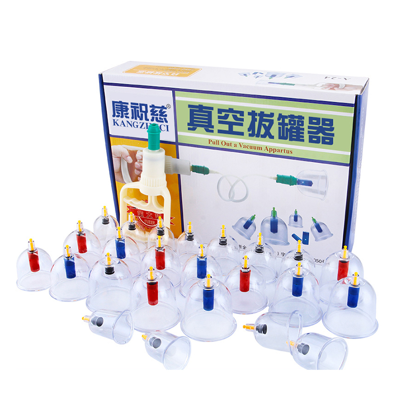 KANGZHUCI 24Pcs Body Massage Vacuum Cupping Set Thicker Magnetic Aspirating Cupping Cans Chinese Acupuncture Massage Suction Cup 10pcs lot 100