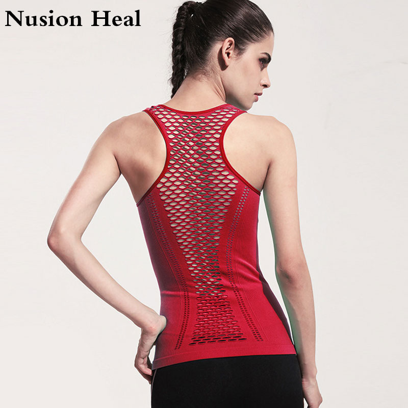 NUSION HEAL Dames Yoga Shirts Mesh Shirt Dames Fitness Running T-shirt Mouwloos Dames Yoga Tops Gym Vest Fitness Sportshirt