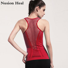 NUSION HEAL Women Yoga Shirts Mesh Shirt Ladies Fitness Running T Shirt Sleeveless Women Yoga Tops Gym Vest Fitness Sport Shirt