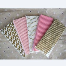 125pcs(5bags) pink gold striped mixed decorative drinking Paper Straws for kids birthday wedding party decoration event supplies(China)