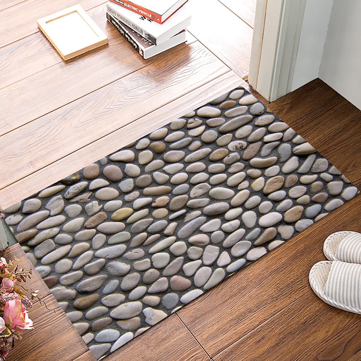3d Pebble Stone Print Door Mats Kitchen Floor Bath