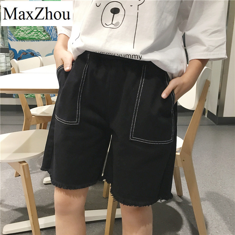 MaxZhou 2017  Summer New Female Loose High Waist Was Thin Knee Length Black White Jeans