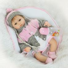 42cm Silicone Bebe Reborn Baby Doll Cloth body Toy Doll Reborn Babies Dolls Play House Girls Fashion Birthday Brinquedos