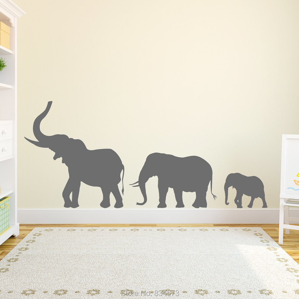 wall decal family art bedroom decor marching elephants family silhouette wall art sticker decal home diy decoration wall mural removable bedroom decor wall stickers