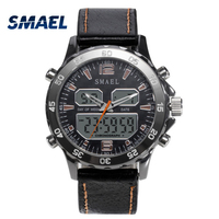 SMAEL Brand Fashion Men Sports Quartz Watches Waterproof Analog Digital Leather Men S Military Watch Clock