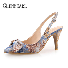 Women Pumps High Heels Shoes Female Brand Butterfly-knot Wedding Shoes Thin Heel Embroidered cloth Party Ladies Shoe Plus Size