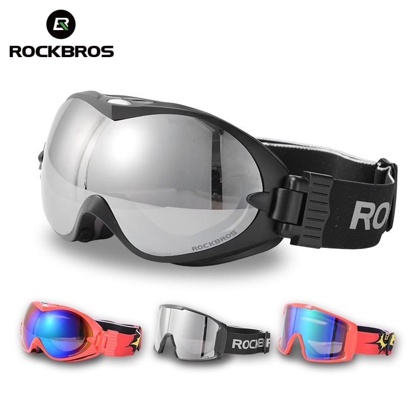ROCKBROS Anti-Fog Ski Goggles Double Layers Skiing Glasses UV400 Snowboard Goggles PC Lens Big Mask Ski Men Women's Glasses Kids