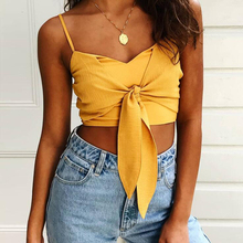 7 Pure Colors Sexy Strap Short Tops Women Bow Camis Zipper Vest Summer Female Beach Streetwear Slim Fit Tank Tees Blusas Mujer