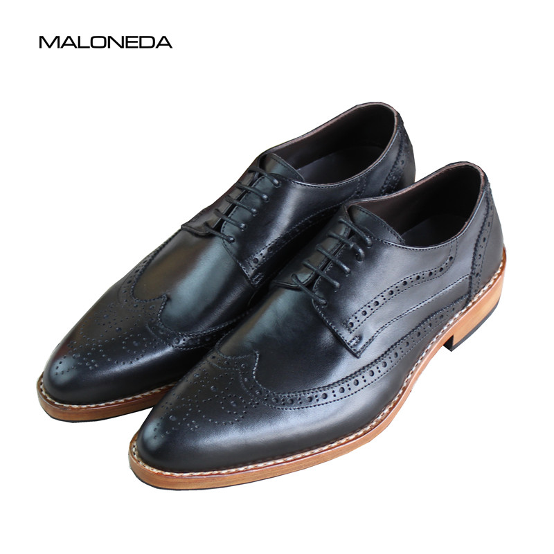 MALONEDA Goodyear Men Dress Shoes Handmade Genuine Leather Lace Up Black Italian Designer Wedding Flats Brogue Wingtip Shoes