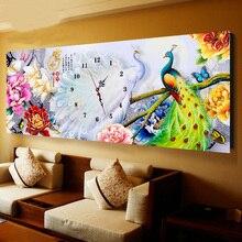 Peacock Peony Flowers Pattern Mosaic Diamond Embroidery Kit 5d diy Diamond Painting Cross Stitch Clock Wall Clocks Painting