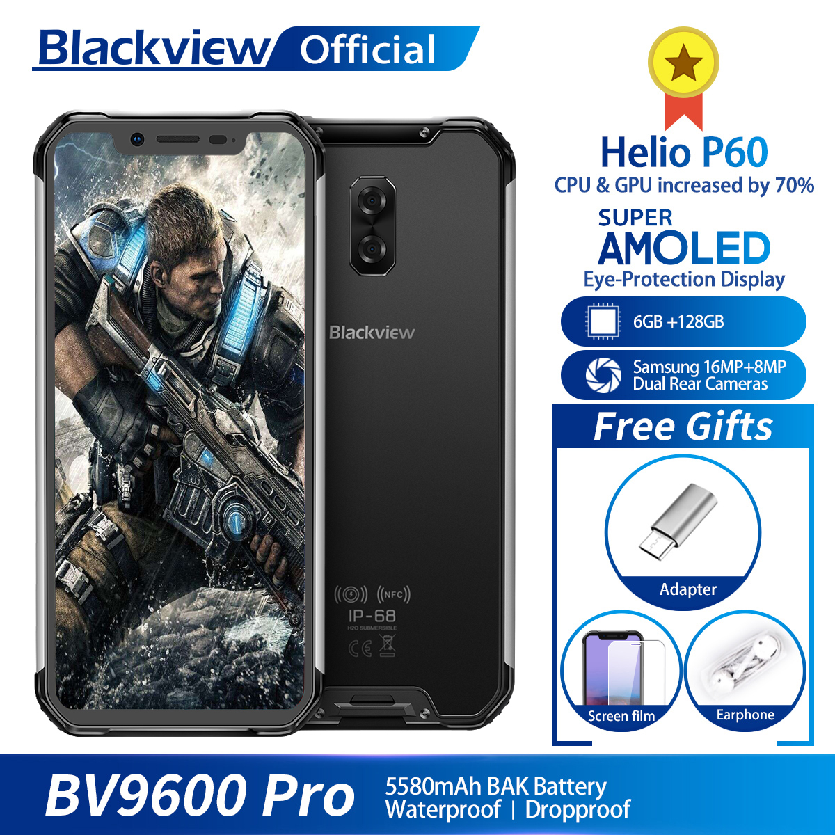 Blackview BV9600 Pro Helio P60 Android 8 1 6GB 128GB Mobile Phone IP68 Waterproof 6 21