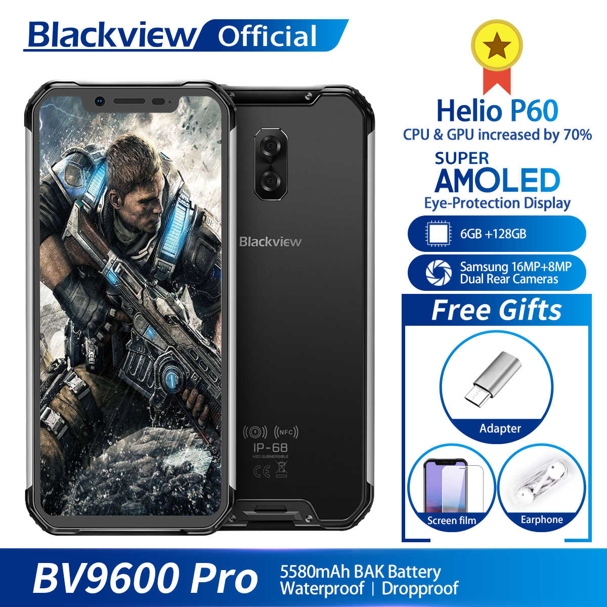"Blackview a BV9600 Pro Helio P60 Android 8,1 6GB + 128GB teléfono móvil IP68 impermeable 6,21 ""19:9 FHD AMOLED 5580mAh Smartphone NFC"