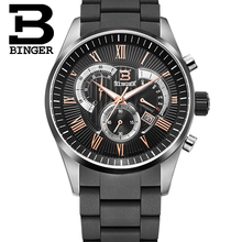 12 colors Men's Quartz Military Watches Men Chronograph Watches Top Brand Luxury Watch Binger Round Steel Water Resistant