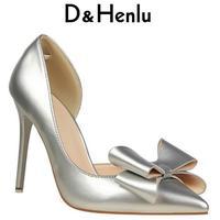 D & Henlu עקבים גבוהים נעלי נשים מותג משאבות של נשים Bow נעלי חתונה דק העקב נעלי ולנטיין לבן zapatos mujer