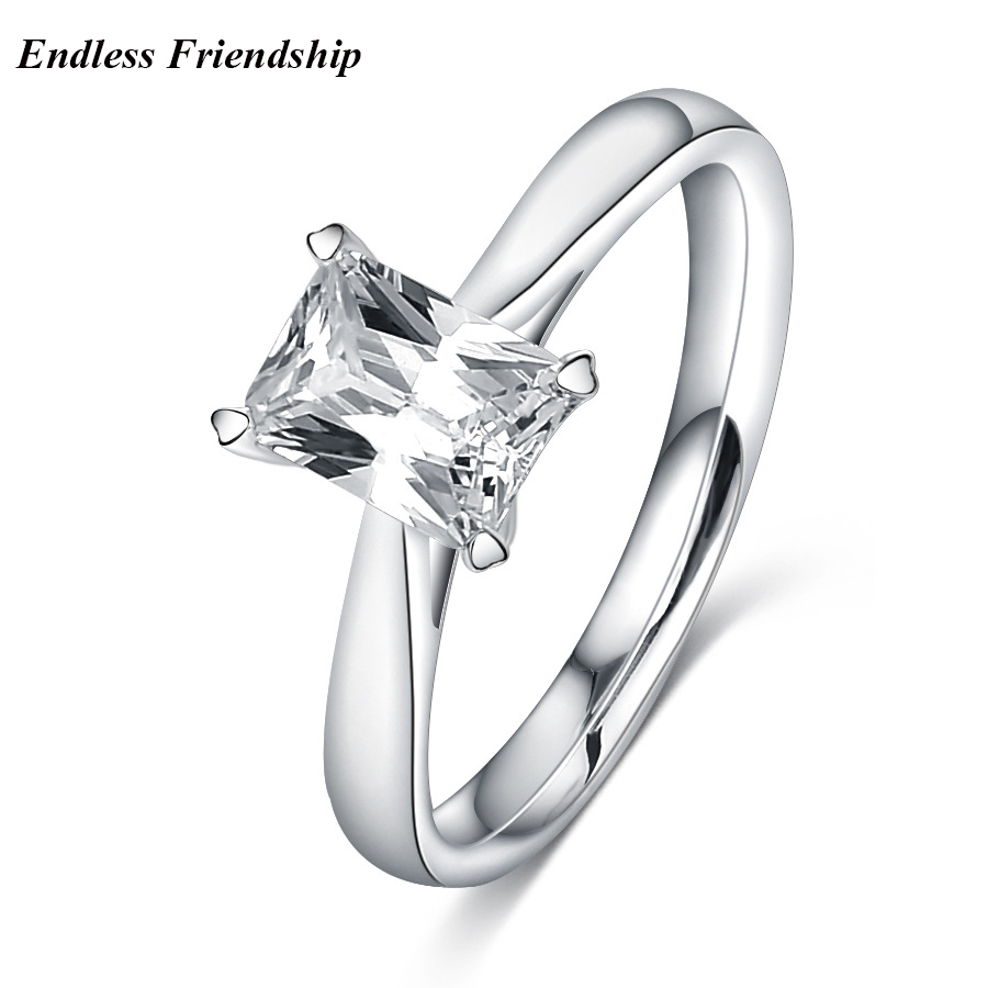 Endless Friendship Fashion Women Silver Color Rings Square Shape with CZ Stone Jewelry Engagement Rings female Anel Bijoux