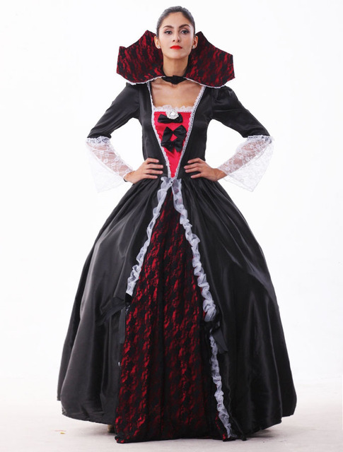 eb3cfa26abf3d US $28.9 28% OFF|Female Vampire Zombie Costume Halloween Ghost Bride  Masquerade Party Costumes Dress Women Witch Queen Halloween Cosplay-in  Scary ...