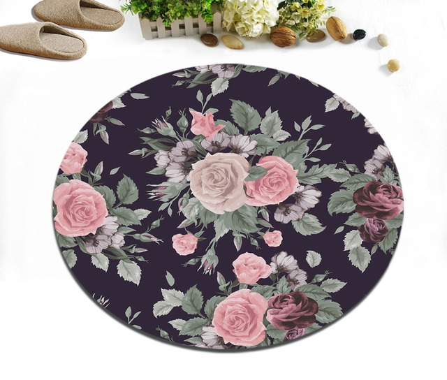 Retro Floral Patterned Round Bathroom Rug