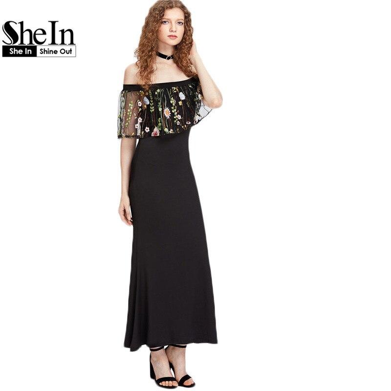 Shein maxi dress summer hombro dress negro media manga bordada volante de malla