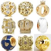 1d80e368c Gold Color Shine Open You Heart Anniversary Castle Wrapped Up Cloud Crown Beads  Fit Pandora Bracelet