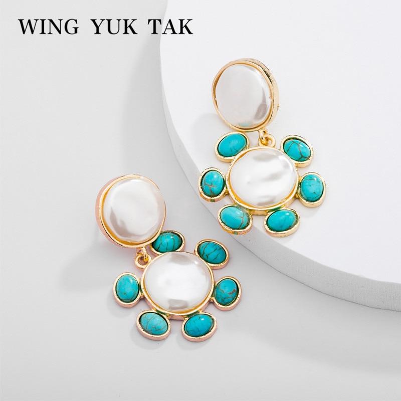 wing yuk tak Trendy Simulated Pearl Flower Earrings 2019 New Hot Sales Korean For Women