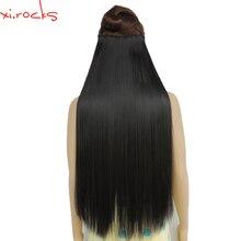 Wjz12070/2 #5 Xi. סלעים סינטטי קליפ בהארכת שיער 28inch אורך פאה ישר 5 קליפים שיער טבעי שחור צבע 2