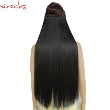 Wjz12070/2 #5 Xi. หินสังเคราะห์คลิปใน Hair EXTENSION ความยาว 28 นิ้วตรง Hairpiece 5 คลิปผมสีดำธรรมชาติ 2