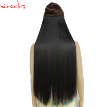 wjz12070/5 Xi.rocks Synthetic Clip in Hair Extension 28inch Length Straight Hairpiece 5 Hair Clips Natural Black Color 2