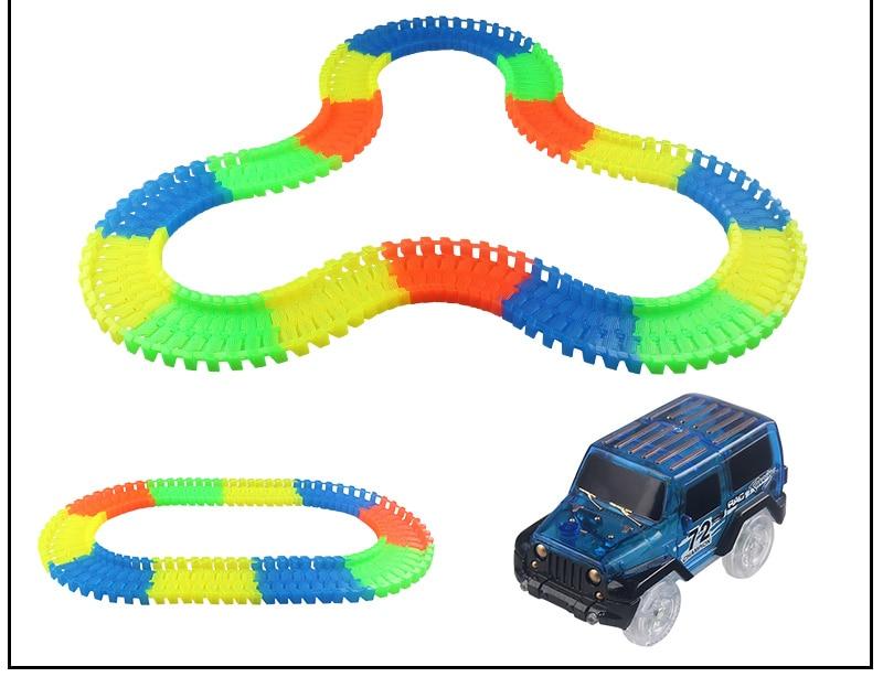 Светящийся гоночный трек изгиб Flex вспышка в темноте сборки гибкий игрушечных автомобилей/165/220/240 шт светящийся гоночный трек Набор DIY головоломки игрушки