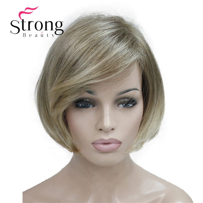 Forte beauté courte droite Ombre Blonde Bob côté balayé frange perruque synthétique femmes pleine perruques choix de couleur