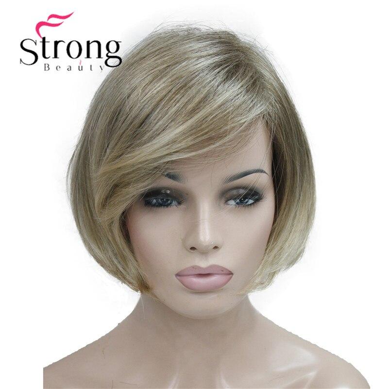 StrongBeauty короткий прямой Ombre блондинка Боб стороны прокатилась челки синтетический парик Для женщин Полный парики выбор цвета
