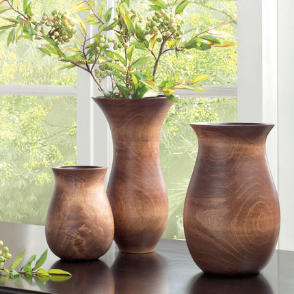 Round Mango Wood Vase American Style Home Accessories In Vases From