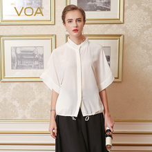 VOA Summer White Silk Women Blouse 2017 Fashion Female Half Sleeve Loose Plus Size Shirt Office Ladies Casual Tops B5576