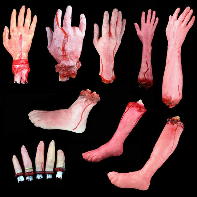 1pcs/lot Halloween Prop Horrible Broken Limbs Fingers Legs Arm Feet Latex Tricky Toys For Party Decorations