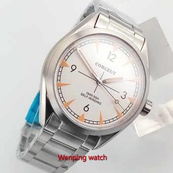 Corgeut 41mm Saphirglas Schwarz zifferblatt Herren Armbanduhr Automatisch uhr W2867