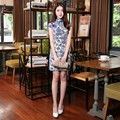 Retro 2016 Blue And White Porcelain Qipao To Prom Sexy Sheath Cheongsams Chinese Traditional Costume Women Summer Dress