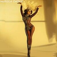 Для женщин День рождения боди блестящие стразы стрейч коричневый комбинезон для ночного клуба праздновать наряд певица танец камни одежда