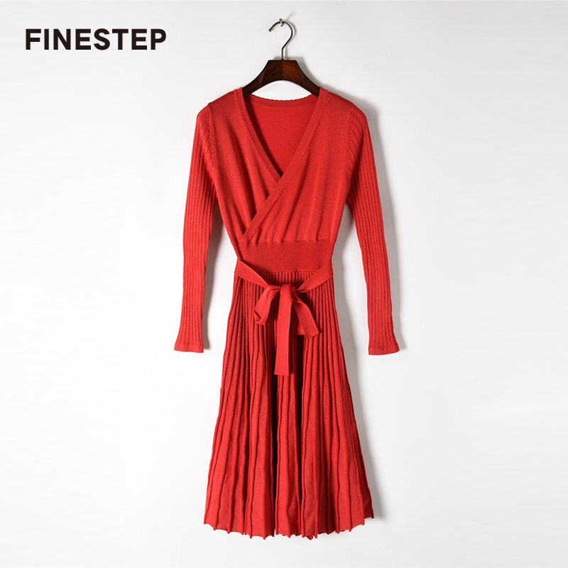 Spring Knitted Dress 2018 Fashion Brand Red Deep V Neck Sexy Dresses For Women Vintage Dress