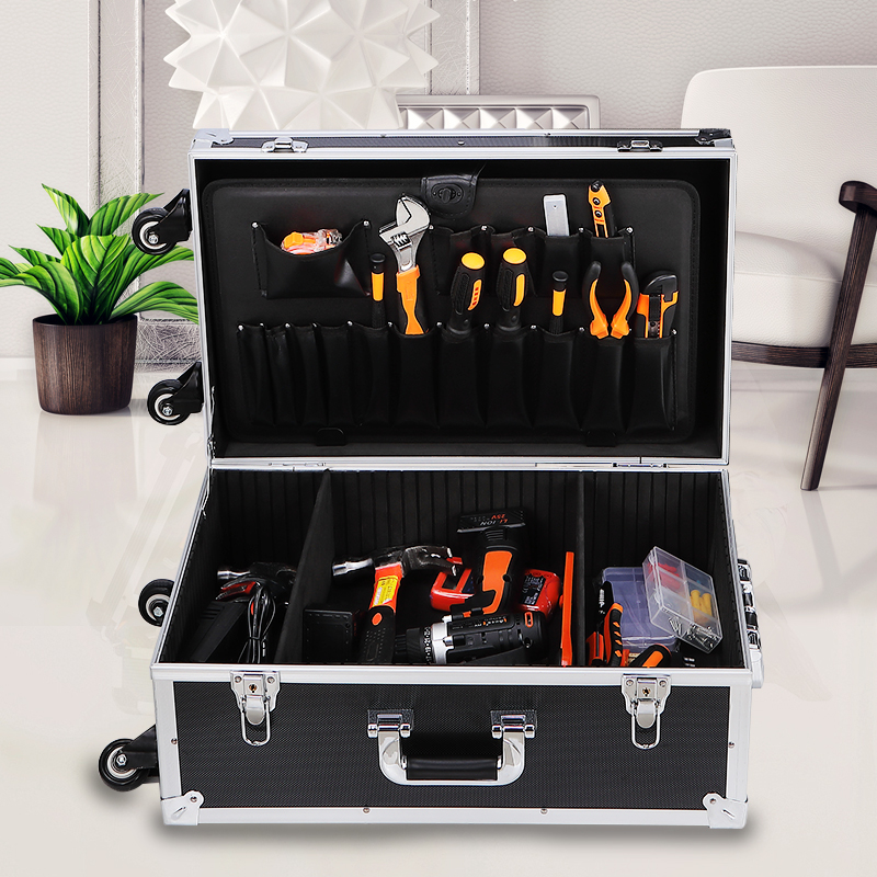 Toolbox Aluminum Tool Box Portable Instrument Box Storage Suitcase Travel Luggage Organizer Tool Case