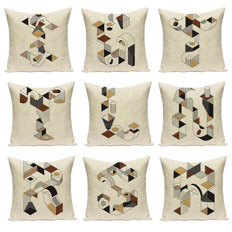 Geometric Ladder Stitching Letter Printed Cushion Cover Chair Cushions Decorative Sofa Pillow Cases Alphabet Sign Pillow Covers