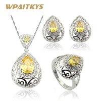 Ashley Orange Yellow Morganite White Topaz 925 Silver Jewelry Sets For Women Hoop Earrings Necklace Pendant